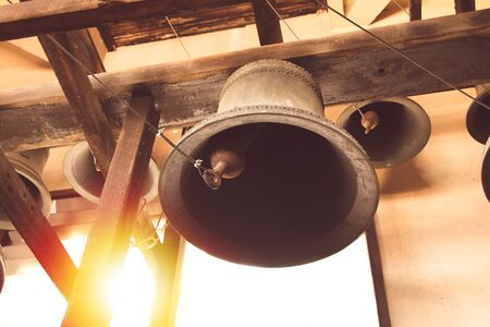 vintage church bell under tower old christian church in Thailand