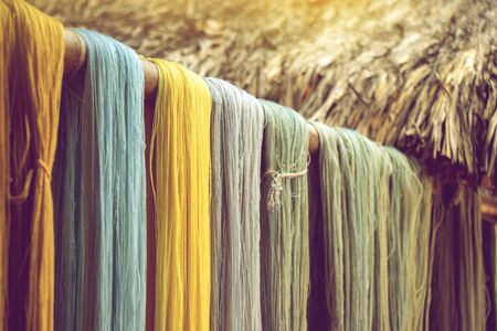 colorful cotton thread from natural dye color desiccate indoor drying