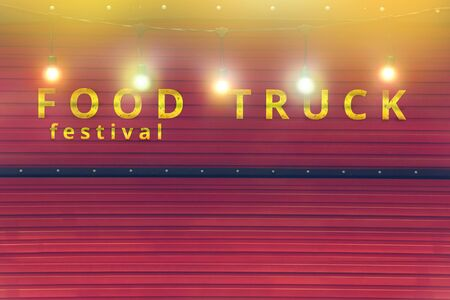 close-up of red food truck with colour light bulb, food festival background, no people Banco de Imagens