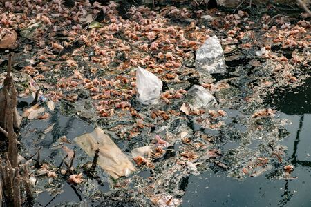 water pollution, old garbage and oil patches on water surface, polluted river full of rubbish