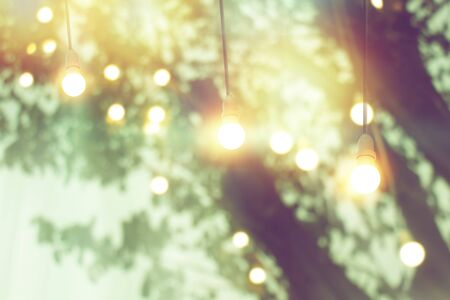 blurred bokeh light on sunset with yellow string lights decor in tree Banque d'images - 132125872