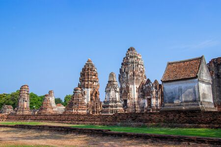 ancient ruins of Wat Phra Sri Rattana Mahathat, pagoda of archaeological site in Lop Buri Province, Thailand