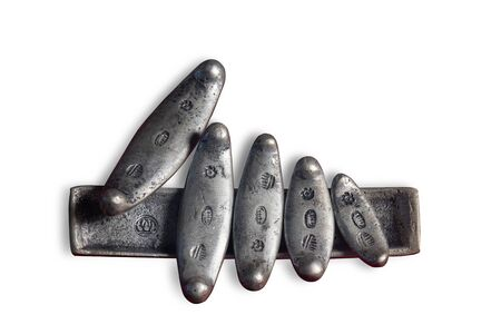 ancient siamese money is a long slender bar made of genuine silver or copper and then plated with silver on white background