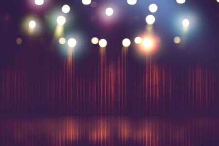 blurred theater stage with red curtains and spotlights, abstract image of concert lighting