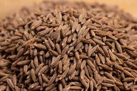 close up of dried cumin seeds background, important spice in curry and massaman curry Standard-Bild