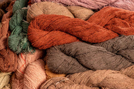 natural color dyed cotton yarn for weaving in local Thailand, natural raw material of weaving fabric for modern cloth, second careers of Thai farmers