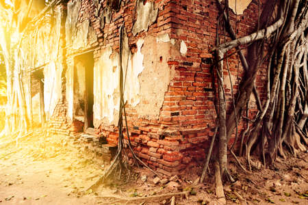 ruins of old abandoned of red and white bricks of building, the dilapidated remains of an ancient temple.