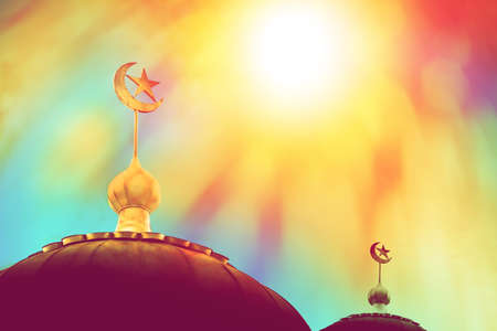 dome of mosque in colourful sky background