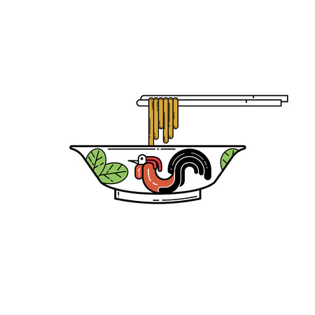 Bowl with traditional thai style Illustration