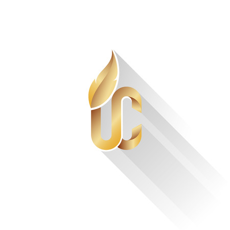 Logo upper class style - Gold color - White Background, Long shadow