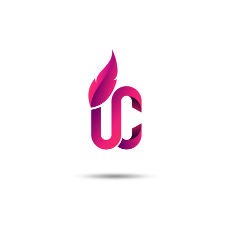 Logo upper class style - Purple pink color -  White Background, Low shadow
