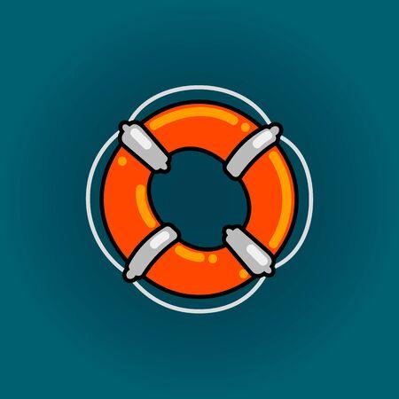 Lifebuoy font vector O alphabet in cartoon style