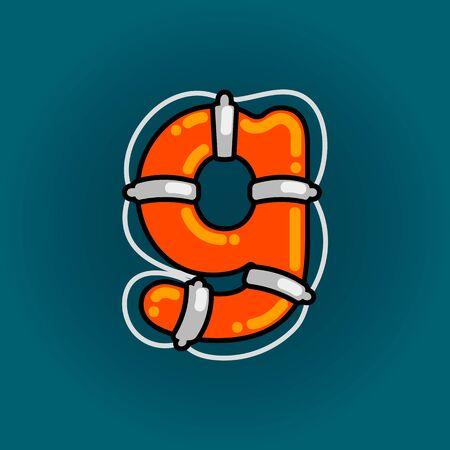 Lifebuoy font vector g alphabet in cartoon style