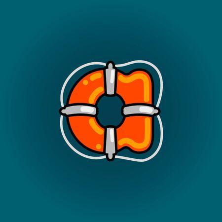 Lifebuoy font vector a alphabet in cartoon style 向量圖像