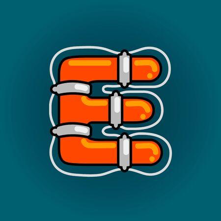 Lifebuoy font vector E alphabet in cartoon style 向量圖像