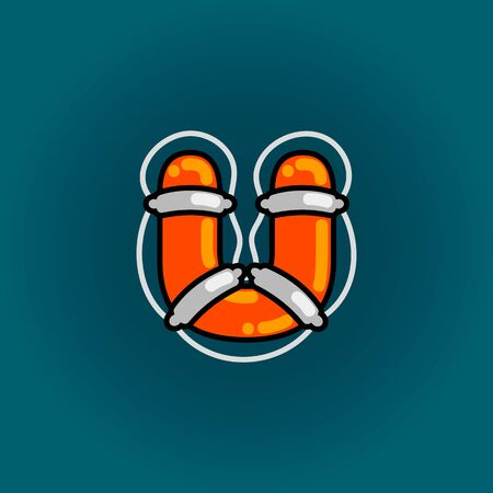 Lifebuoy font vector u alphabet in cartoon style 向量圖像