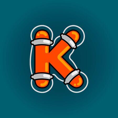 Lifebuoy font vector K alphabet in cartoon style
