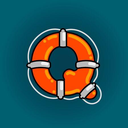 Lifebuoy font vector Q alphabet in cartoon style