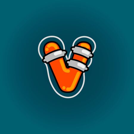 Lifebuoy font vector v alphabet in cartoon style