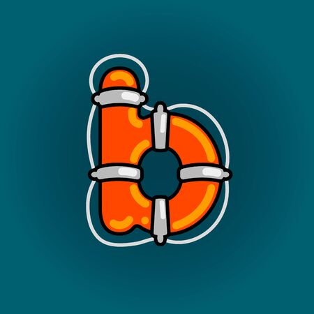 Lifebuoy font vector b alphabet in cartoon style