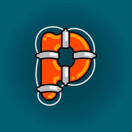 Lifebuoy font vector p alphabet in cartoon style Ilustração
