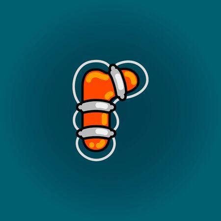 Lifebuoy font vector r alphabet in cartoon style