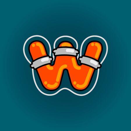 Lifebuoy font vector W alphabet in cartoon style 向量圖像