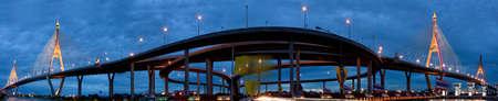 Bhumibol Bridge or Mega Bridge in thailand Stock Photo