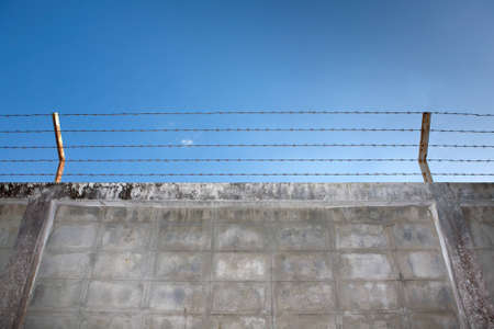 barbed wire and fence: Barbed wire fence on the wall. Stock Photo