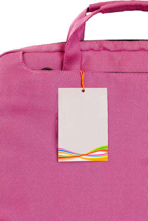The product label attached to the pink bag  photo