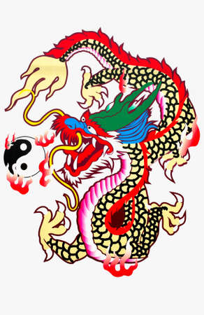 Dragon color on a white background Stock Photo - 14766038