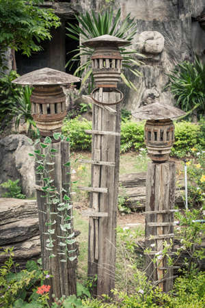 Lamps made of wood in the garden