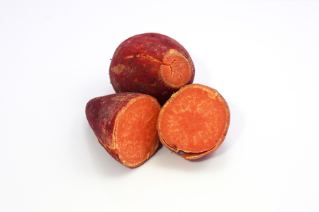 Yam cooked  White background  photo