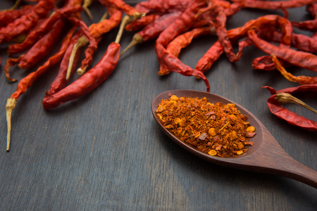 Cayenne pepper on the wooden floor