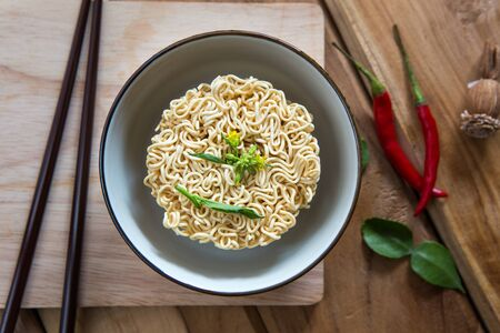 Instant noodles in bowl Stock Photo