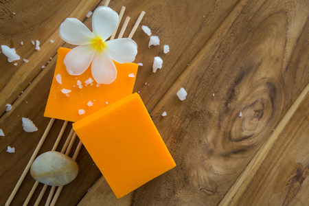 recuperate: Soap set on a wooden background