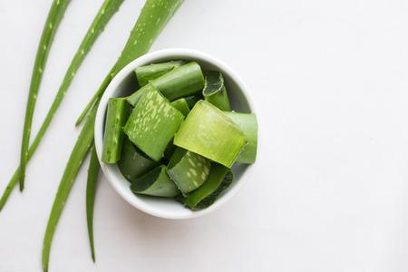 Fresh aloe vera leaves isolated on white background Stock Photo