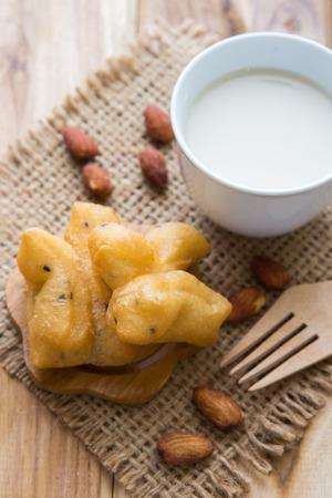 deep-fried dough stick (Patongko) with milk