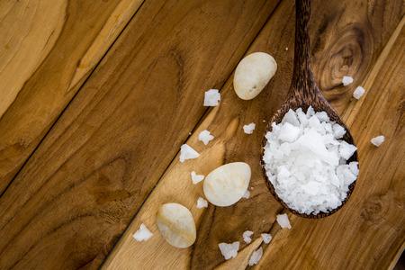 sea salt on wooden background Stock Photo