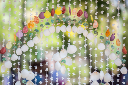 The seashells mobiles with colorful and the green background