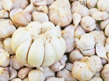 fresh garlics in a market