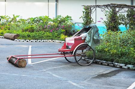cart on two wheels in garden