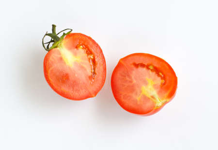 tomatoes and one half.  on white background Stock Photo
