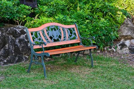 vintage wooden bench in the garden