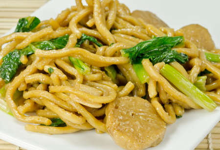 Chinese Fried Noodle with fork Stock Photo