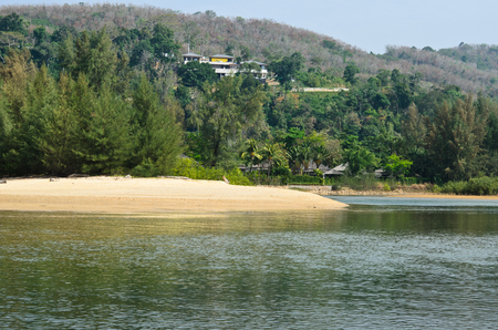 Beach, sand, sea in paradise island. Summer traveling in Thailand.