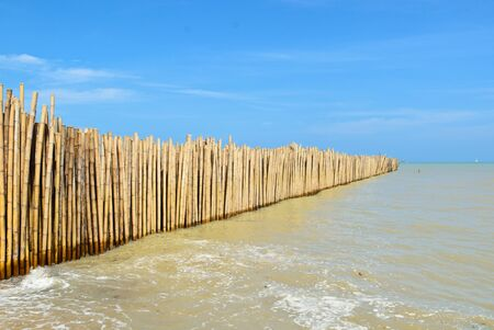 Bamboo walls in the see Stock Photo