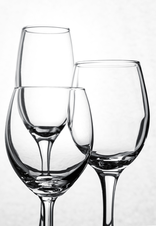 Empty group of wine glass. on a white background