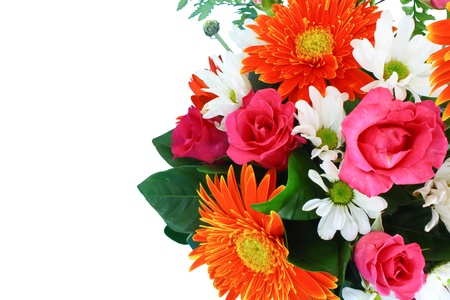 bedeck: Vase of colorful flowers on a white background Stock Photo