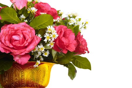 spiffy: Vase of colorful flowers on a white background Stock Photo